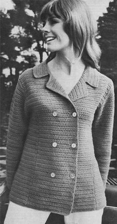 Womens Jacket PDF Crochet Pattern : Ladies 34 36 and 38 inch