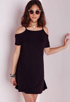 Cold Shoulder Swing Dress Black - Dresses - Swing Dresses - Missguided
