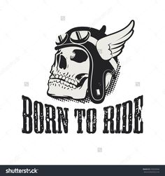 Skull in winged motorcycle helmet. Born to ride. Retro vector design graphic element, emblem, logo, insignia, sign, identity, logotype, poster. T-shirt print design template. Vector illustration.