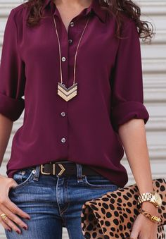 Casual days get a trendy update when you throw in a relaxed fit Marsala button-down into the mix. This rich hue pairs amazingly well with jeans, and again looks so stunning when worn with animal print and your favorite gold bling. Look Fashion, Winter Fashion, Fashion Outfits, Womens Fashion, Fashion Trends, Fashion Ideas, Fashion Tips, Fall Outfits, Casual Outfits