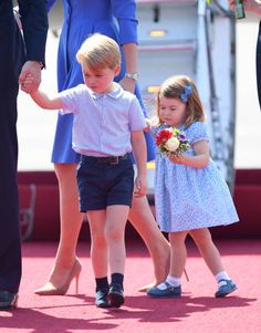 Prince George and Princess Charlotte arrive at Berlin's Tegel Airport during an official visit to Poland and Germany on July 19 2017 in Berlin Germany
