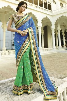 BLUE-GREEN BANARSI DORI PRINT FANCY DESIGNER WEDDING SAREE at Lalgulal.com. To Order :-http://goo.gl/JfbzvK To Order you Call or Whatsapp us on +91-95121-50402. COD & Free Shipping Available only in India.
