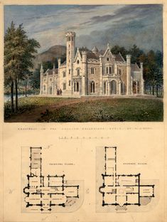 Villa for Robert Donaldson, Fishkill Landing, New York (perspective and plans)… Architecture Mapping, Architecture Drawings, Gothic Architecture, Architecture Plan, Beautiful Architecture, Vintage House Plans, House Blueprints, Gothic House, Sims House