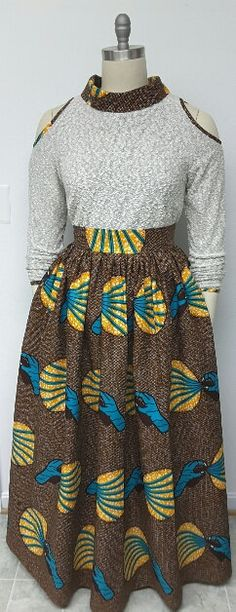 African Print Maxi Skirt. Inside Pockets. Fully by NanayahStudio