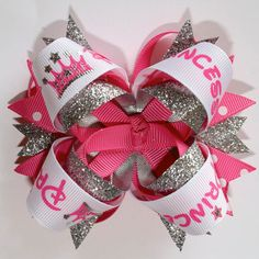 Hot Pink Glitter Princess Stacked Hair Bow