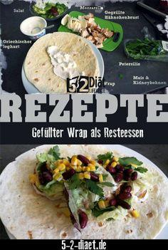 gefüllter Wrap mit Resteverwertung vom Vortag Low Carb, Mexican, Wraps, Healthy, Ethnic Recipes, Food, Komfort, Workouts, Fitness