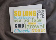 Good Bye Card  Moving Relocation  by patternedpomegranate on Etsy, $2.00