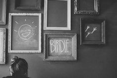 empty frames on chalkboard wall