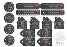 "Free printable chalkboard gift tags in several shapes in English and French saying ""home made/fait maison"" and ""made with love/fait avec amour). To download click on the round chalkboard ""made with love"" label on the bottom of the post."