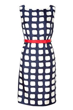 Milly Navy and Cherry Belted Sheath Dress