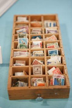 What a neat way to display vintage stamps! #thoughtfulashell #socialpreparednesskit #eggpress