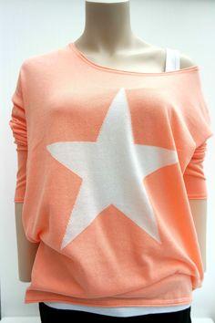 dbddc1b51d2e Damen Pullover Ajc Oberteil Stern FeinStrick Shirt rosa weiß Gr.40,42,44
