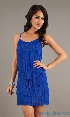 ce53e0cad4a Image of short fringed sheath dress. Style  CH-1415 Detail Image 2 Sukienki