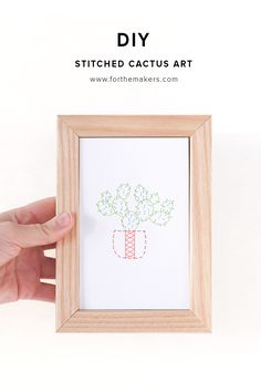 DIY Stitched Cactus Art - Mix illustration and hand embroidery to create these cuties.