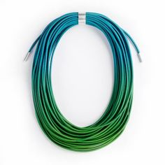 Ombre Green and Blue Coil Necklace - Gilly Langton Contemporary Jewellery