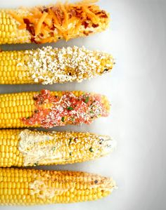 5 delicious recipes for grilled corn! As if corn wasn't already delicious! Corn Recipes, Side Recipes, Vegetable Recipes, Great Recipes, Favorite Recipes, Party Recipes, Recipes For The Grill, Drink Recipes, Recipies