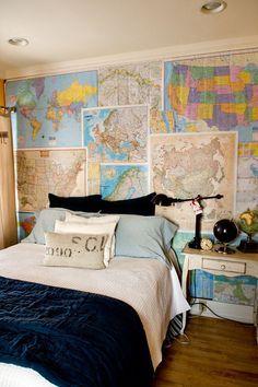 I love maps in kids bedroom. Dream Bedroom, Kids Bedroom, Bedroom Decor, Wall Decor, Dream Rooms, Modern Bedroom, Bedroom Wall, Ideas Geniales, Vintage Maps