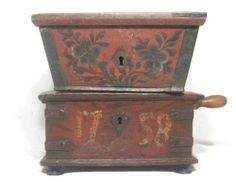 Antique 18th 19thC Rosemaled Box Folk Art Rosemaling Primitive Norwegian | eBay