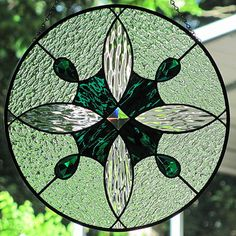 Stained Glass Geometric Jeweled Suncatcher Panel Hunter Green and Clear
