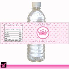 Personalized Water Bottle Labels For Girl Baby Shower
