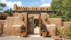 Adobe architecture typifies Santa Fe's residential style. Offered for $1,495,000 by Santa Fe Properties.