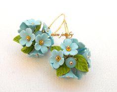 #Flower dangle #earrings  Light blue earrings  by #insoujewelry
