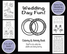 Same Sex Wedding Coloring Book Grooms Gay Kids Favors Reception Ac
