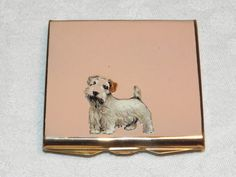 Enamel Scottie Dog Powder Compact, 1930's compact by Stratton