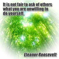It is not fair to ask of others what you are unwilling to do yourself. Inspiration Quotes, Motivation Inspiration, Inspiring Quotes, Best Quotes, Classroom Quotes, Meaningful Sayings, You Can Do Anything, Eleanor Roosevelt, Positive Messages