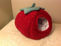 Small pet strawberry shaped bed/bunker. Ideal for African Pygmy hedgehogs.  on Etsy, $33.23