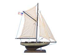 Wooden Rustic Columbia Model Sailboat Decoration 16