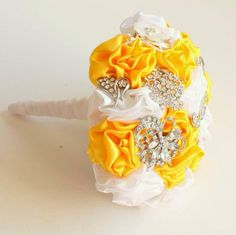 Yellow and white Fabric and Brooch Bouquet by Florio Designs
