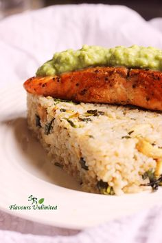 Spa Food - Stir Fried Garlicky Rice with Tofu n Basil Served with Salmon Fish Fry and Green Peas Mash