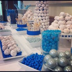 dessert table, sweets table, candy table, wedding, real parties, blue and white, silver, donuts, donut tower, candy