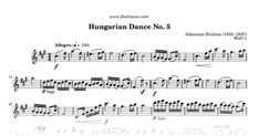Sheet music for Hungarian Dance No. 5 from Ungarische Tänze by Johannes Brahms, arranged for Flute solo. Free printable PDF score and MIDI track.
