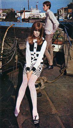 Model Jean Shrimpton wearing John Bates for Vogue Fashion Magazine.June 1966.