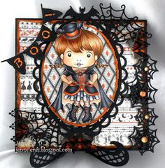 From our Design Team! Card by Jenny Dix featuring Bat Girl Marci and these Dies - Boo banner,  Spiderweb and spider,  Spiderweb corner,  Eerie bats,  Spiderweb border :-) Shop for our products here - shop.lalalandcrafts.com  Coloring details and more Design Team inspiration here - http://lalalandcrafts.blogspot.ie/2015/10/inspirational-monday.html