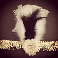 Gold Sequin Flapper Headband w/ white and black feathers and rhinestone center flower - SALE by MissHollyHockVintage on Etsy