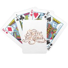 Copper-look Merry Christmas script design Bicycle Playing Cards - Xmas ChristmasEve Christmas Eve Christmas merry xmas family kids gifts holidays Santa