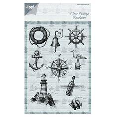 Joy Crafts Tampon Dessin Marin Mer phare ancre bouée poisson