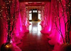 Fairy tale theme birthday party Change the back lights to green and the lights on the trees to purple or orange and this could work for a Halloween party, too. Also turn everything winter wonderland white and it would be awesome for a wedding. by faye Princess Theme, Princess Birthday, Birthday Party Images, Birthday Parties, 19th Birthday, Birthday Bash, Fairy Tale Theme, Fairy Tales, Fairytale Party