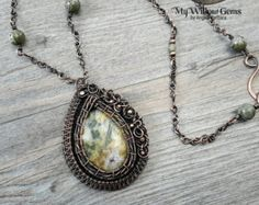 Wire Wrapped Blue Crazy Lace Agate Necklace by MyWillowGems