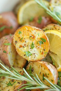 Lemon Rosemary Roasted Potatoes - Lemon and rosemary come together beautifully in this quick and easy go-to side dish, perfect for every meal! from @damndelicious