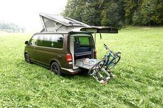 SOLAR Panel-Module-Anlage VW California  T5 / T6 Solaranlage auf dem Aufstelldach - Hubdach  Heckauszug  Fahrradträger