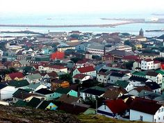view of Saint Pierre and Miquelon from hilltop East Coast Canada, Outre Mer, St Pierre And Miquelon, Canada Travel, Canada Trip, Fishing Villages, Archipelago, Newfoundland, Capital City