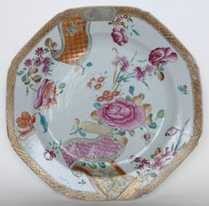 Chinese export porcelain plate with famille rose decoration- Qianlong period, mid-18th century