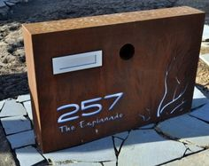 Letterbox-large installed in Torquay Vic Australia, PO BOX DESIGNS. For more information visit www.poboxdesigns,com. Large Mailbox, Brick Mailbox, Modern Mailbox, Metal Letters, House Numbers, Home Signs, Box Design, Lettering Design, Signage