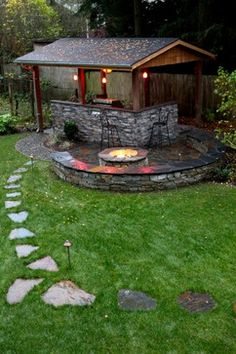 Outdoor living pavilion - traditional - patio - seattle - Father Nature Landscapes of Tacoma, Inc.