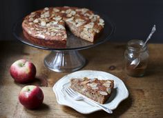 This apple & almond cake is simple yet elegant, moist and subtly sweet. Healthy Deserts, Healthy Food Blogs, Good Healthy Recipes, Unique Recipes, Apple And Almond Cake, Almond Cakes, Fall Fruits, Let Them Eat Cake, Cravings
