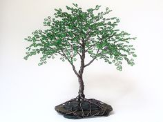 "Bright Green Summer Beaded Bonsai Wire Tree Sculpture 10"""